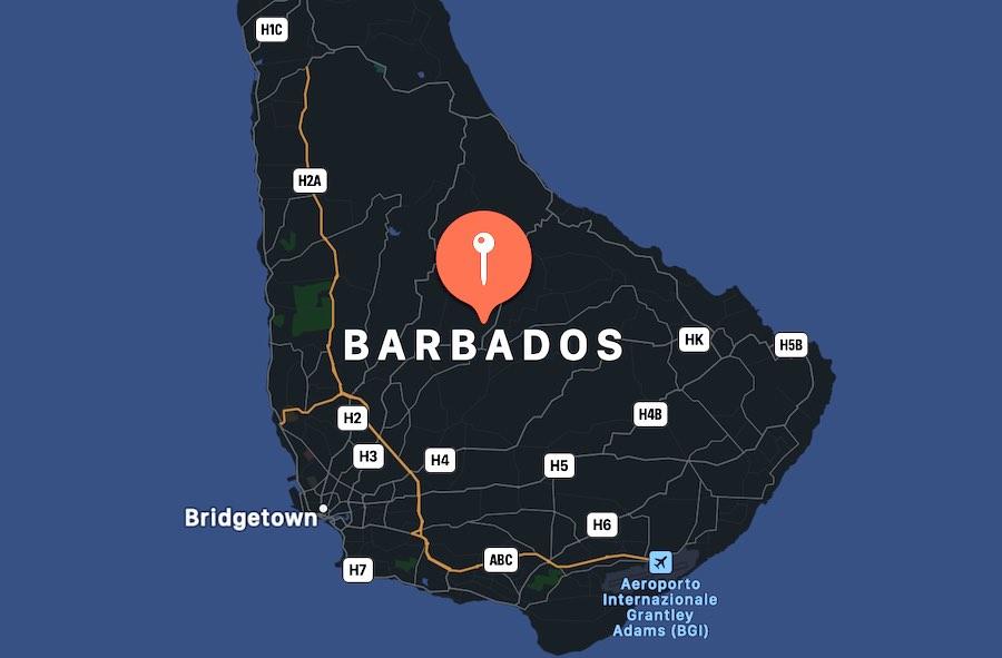 Cosa vedere alle Barbados, mappa