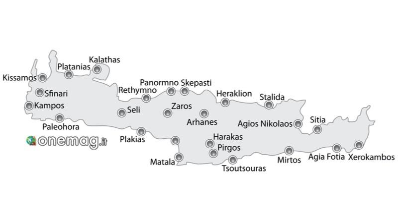 Mappa Guida alle migliori spiagge di Creta