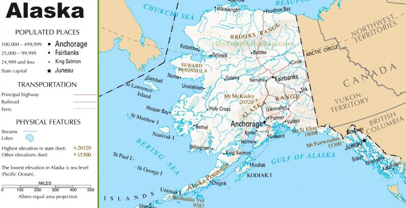 Mappa stradale Alaska