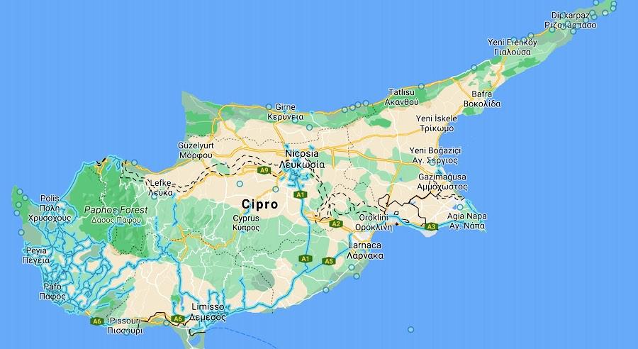 Quando andare a Cipro, mappa