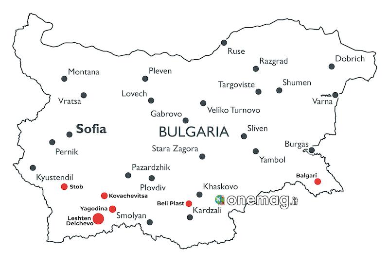 Mappa villaggi Tradizionali Bulgaria