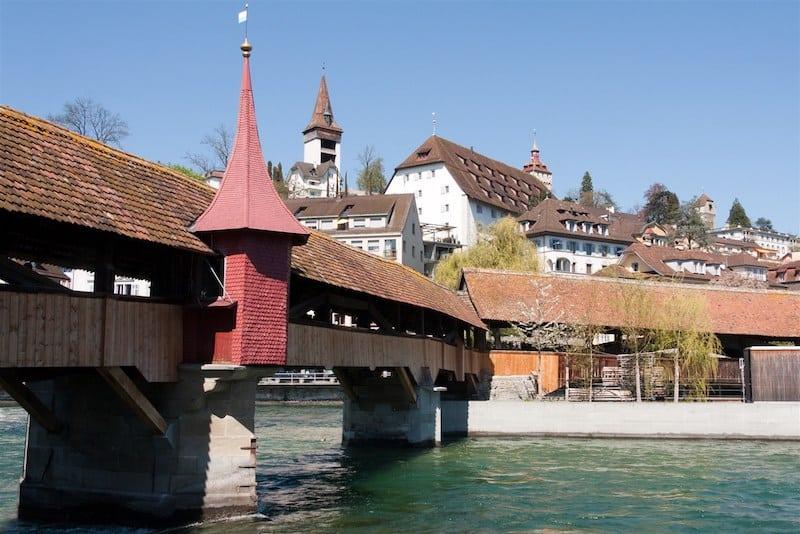 Il ponte Spreuerbrücke a Lucerna, Svizzera