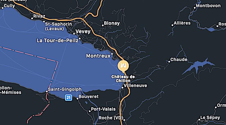 Il Castello di Chillon, mappa