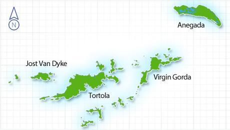 Cosa vedere nelle Isole Vergini Britanniche, dettaglio della mappa