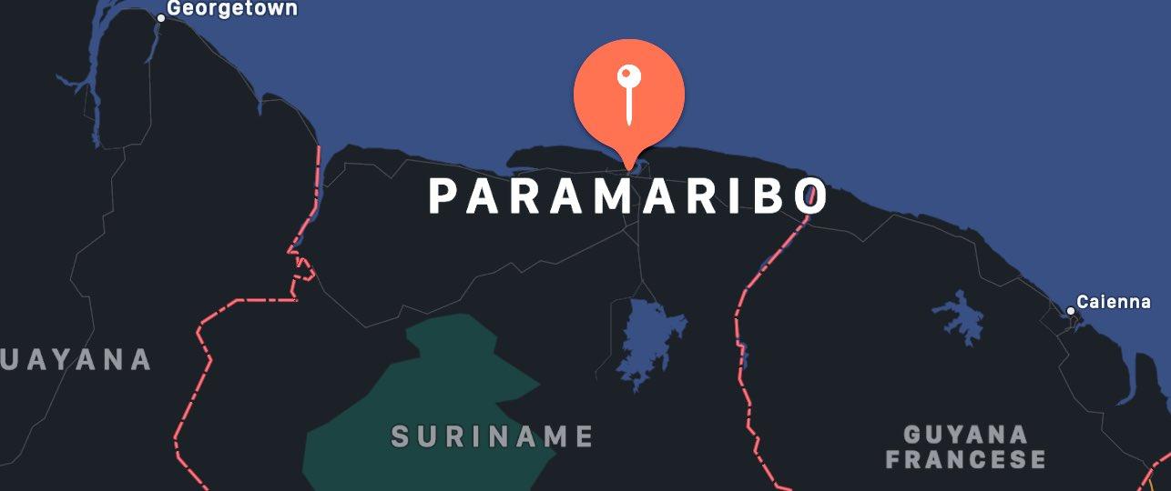 Cosa vedere a Paramaribo, mappa