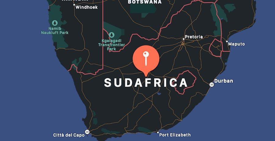 Cosa fare in Sudafrica, mappa