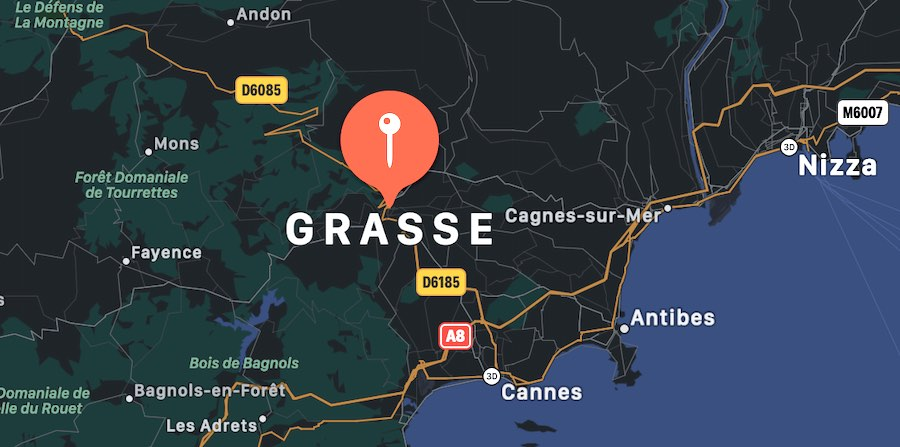 Cosa vedere a Grasse, mappa