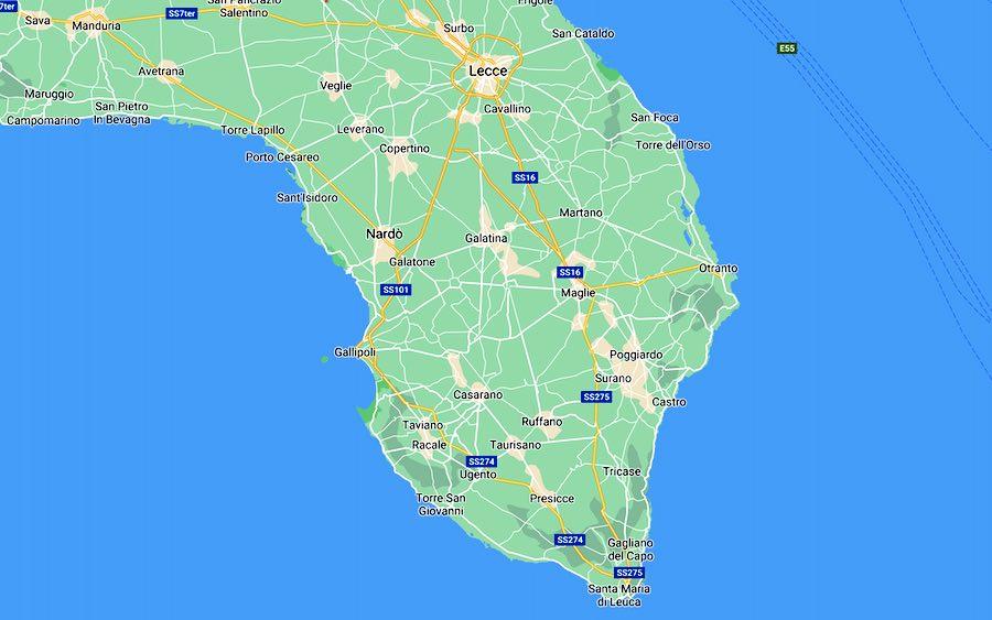 Visitiamo il Salento, mappa
