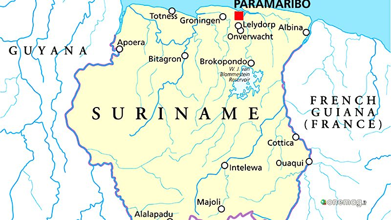 Suriname, mappa