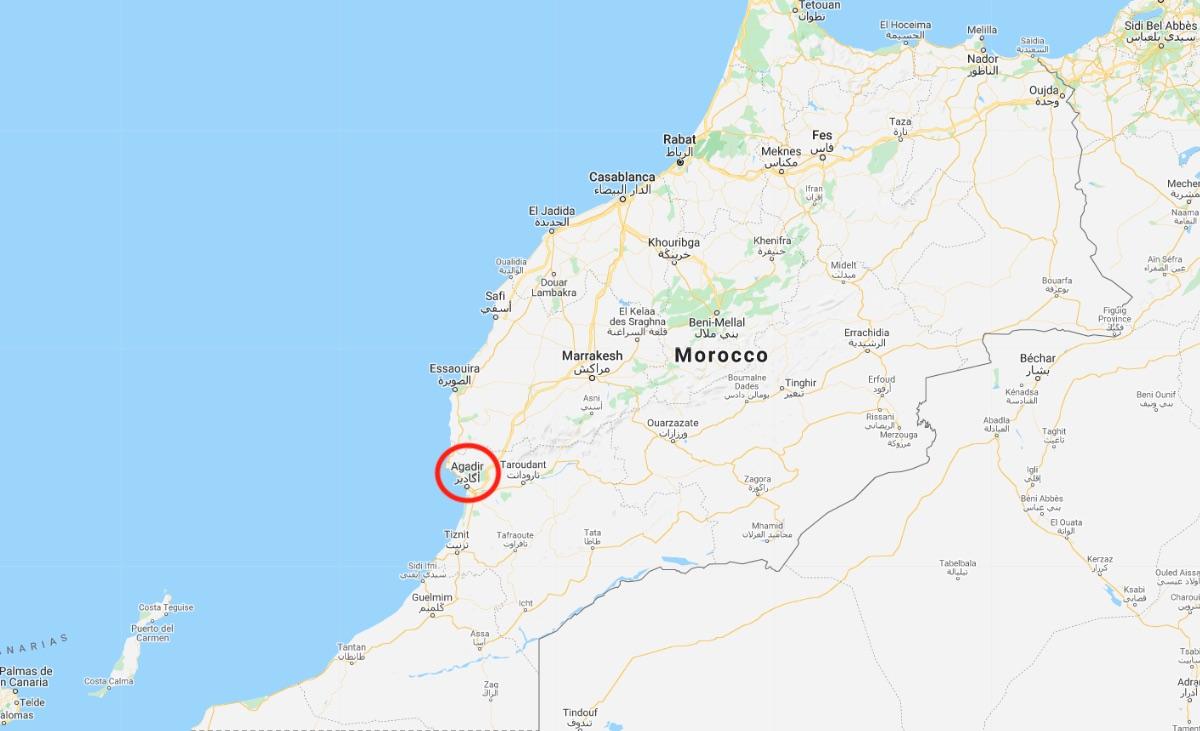 Mappa di Agadir, Marocco
