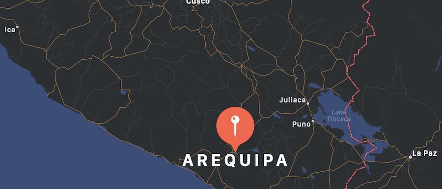Cosa vedere ad Arequipa, mappa