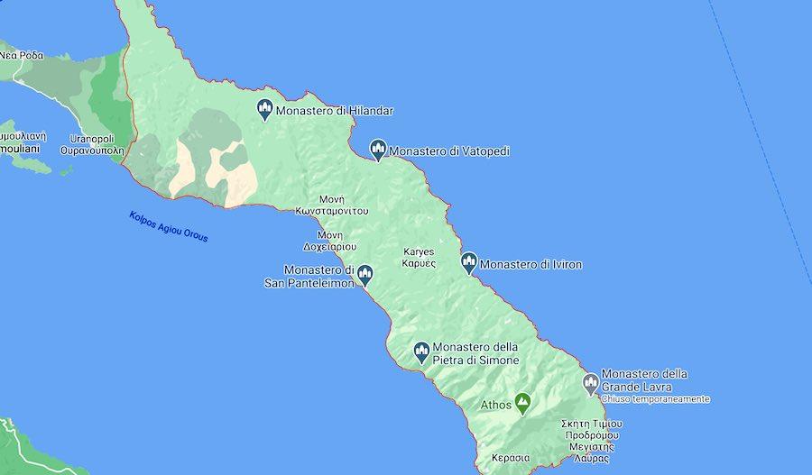 Cosa vedere al Monte Athos, mappa