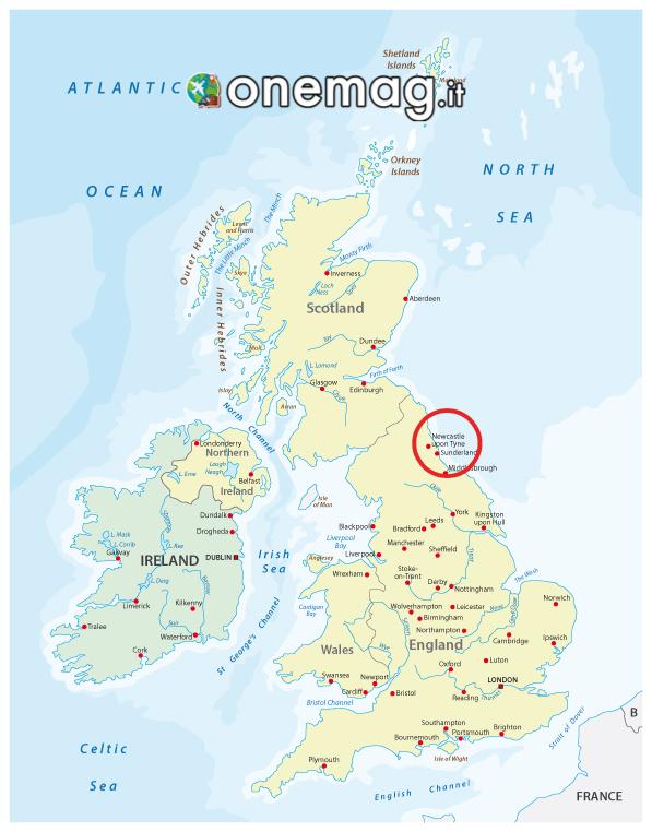 Mappa di Newcastle Upon Tyne