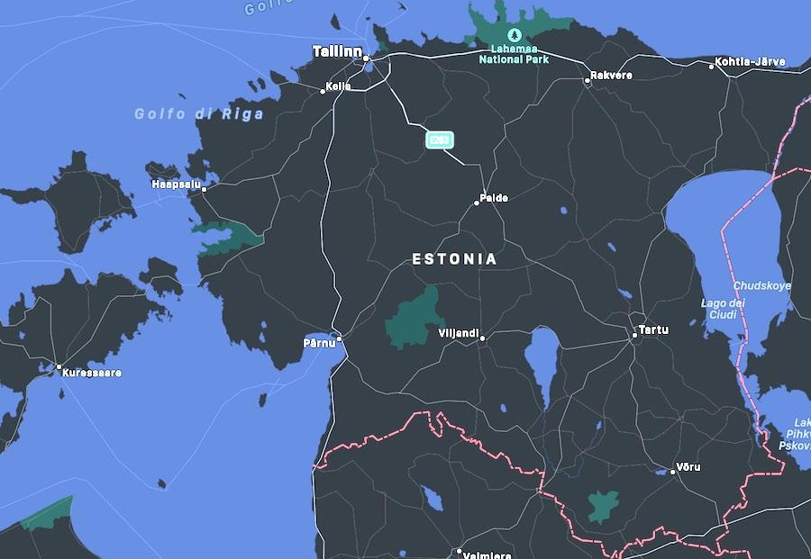 I luoghi da visitare in Estonia, mappa
