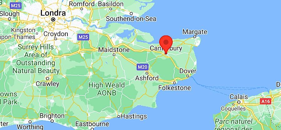 Cosa vedere a Canterbury, mappa