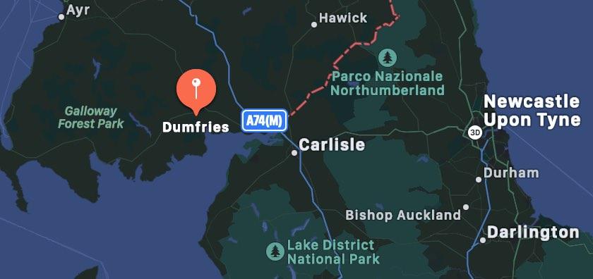 Cosa vedere a Dumfries, mappa