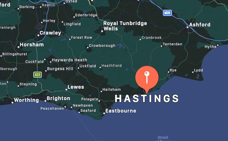 Cosa vedere a Hastings, mappa