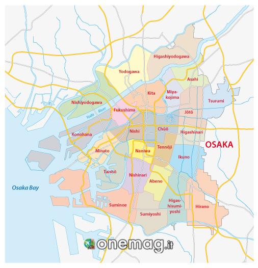 Mappa dei quartieri di Osaka