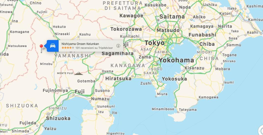 Mappa del Nishiyama Onsen Keiunkan, Giappone