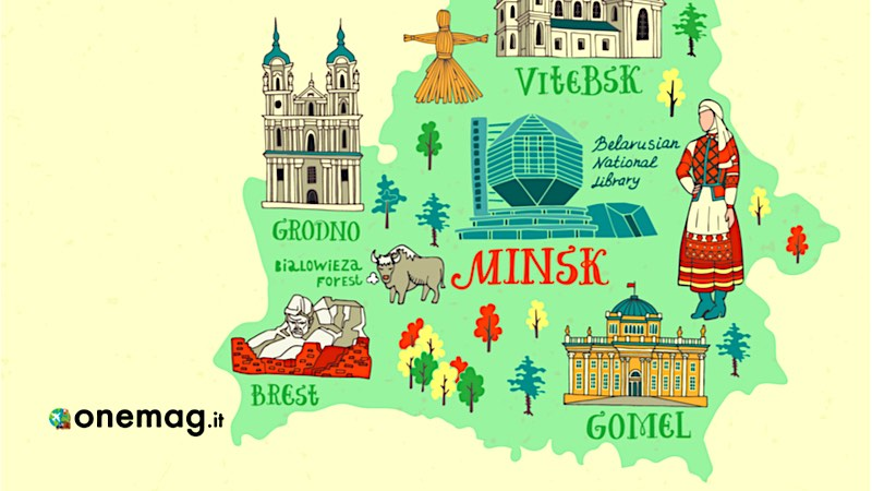 Bielorussia, mappa illustrata