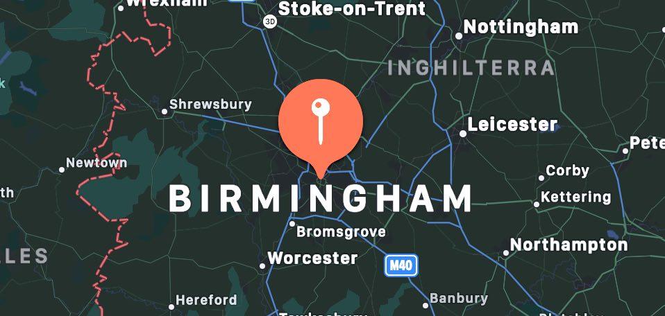 Cosa vedere a Birmingham, mappa
