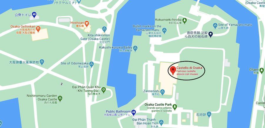 Il castello di Osaka, mappa