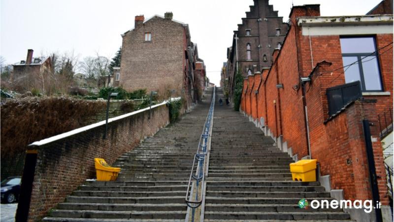 La Montagne de Bueren di Liegi, veduta della scalinata