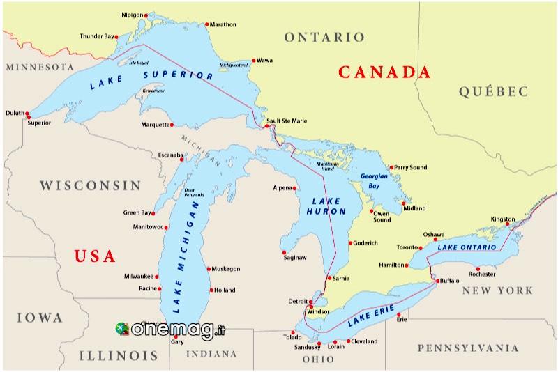 I grandi laghi del Nord America