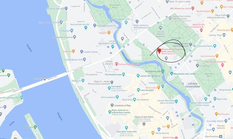 Il Museo dell'Occupazione di Riga, mappa