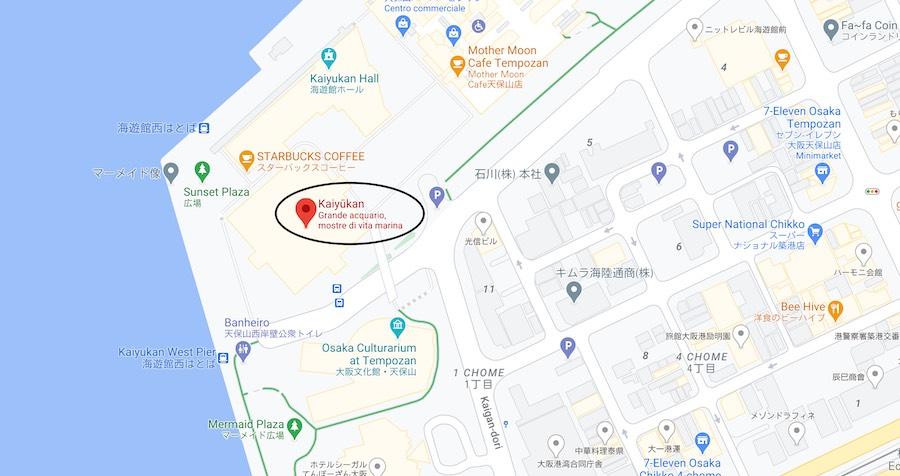 Acquario Kaiyukan di Osaka, mappa