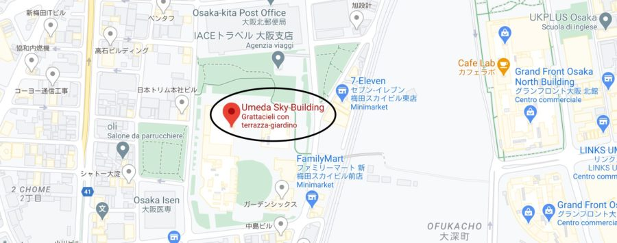 Umeda Sky Builing Osaka, mappa