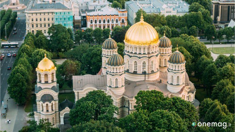 La Cattedrale della Natività di Cristo di Riga, veduta dall'alto