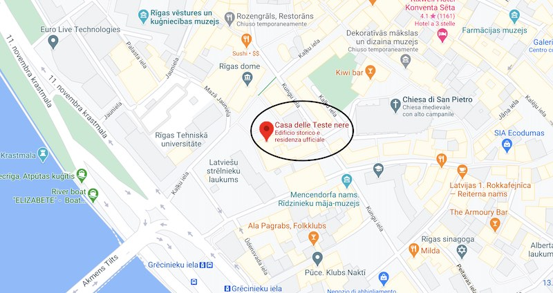 La casa delle teste nere di Riga, mappa