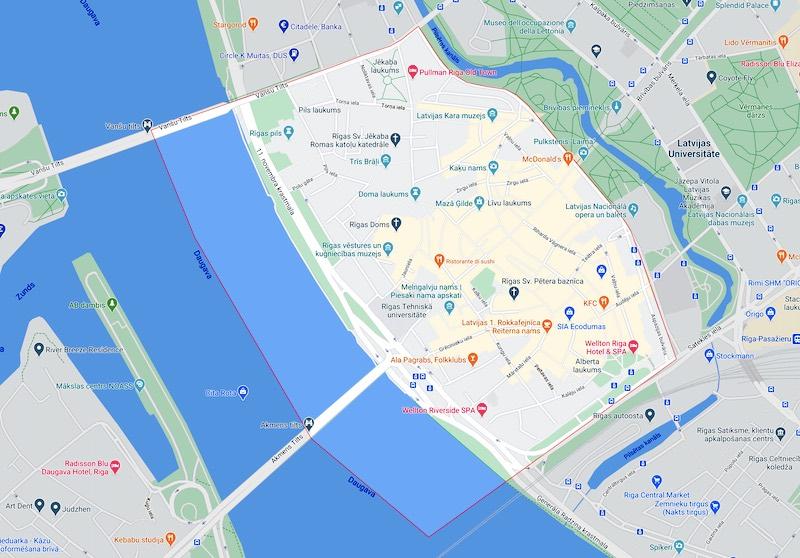 La città vecchia di Riga, mappa