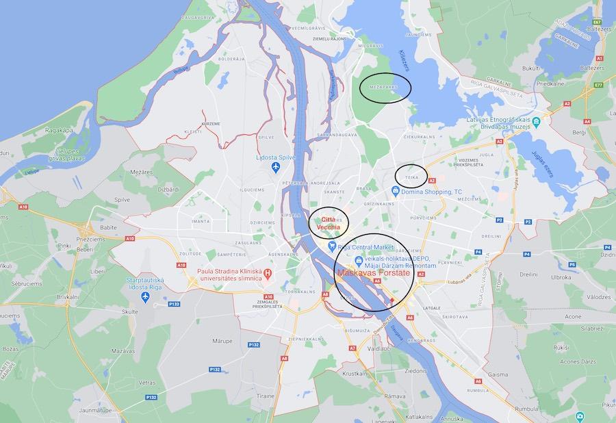 Cosa vedere a Riga, mappa dei quartieri