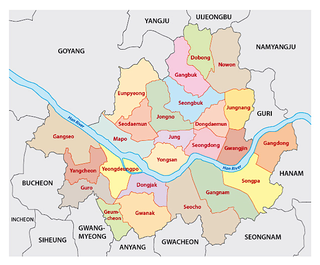 Cosa vedere a Seul, mappa dei quartieri