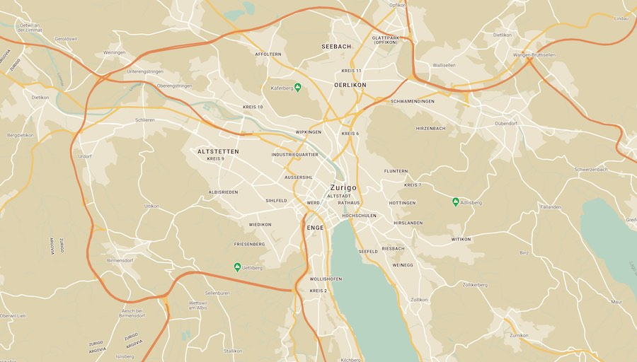 Cosa vedere a Zurigo, mappa