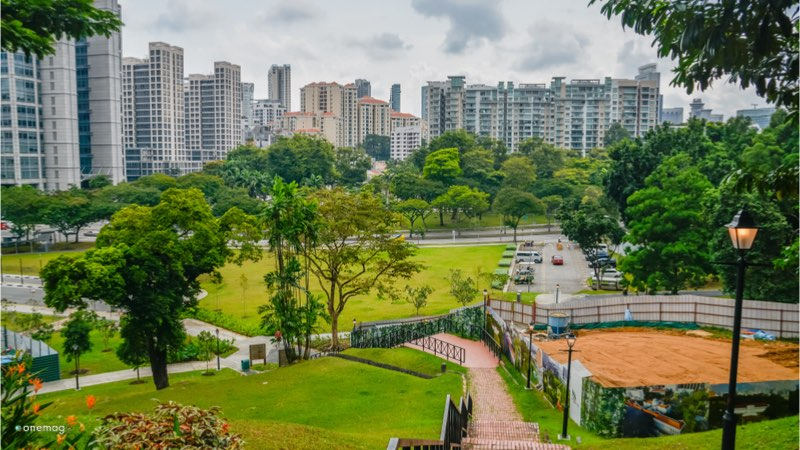 Fort Canning Park di Singapore, veduta dalla collina