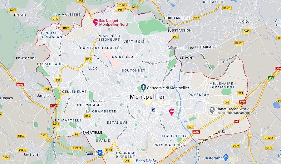 I quartieri di Montpellier, mappa