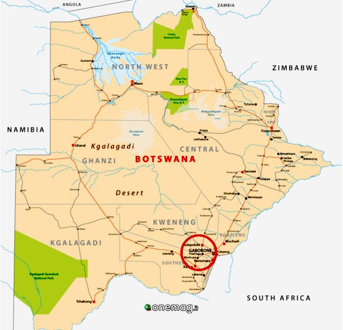 Cosa vedere a Gaborone, mappa