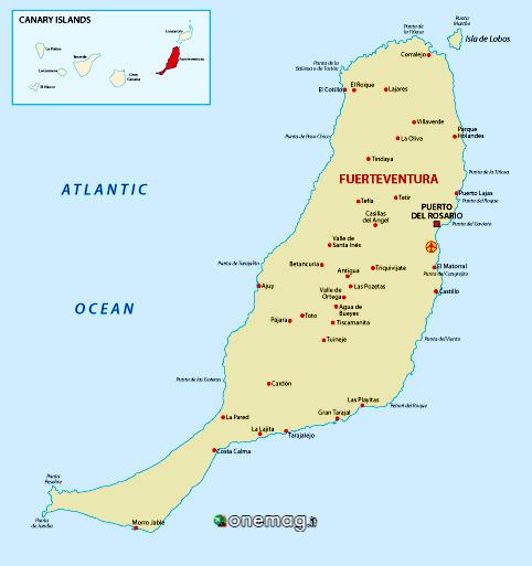 Cosa vedere a Fuerteventura, mappa