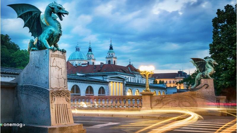 Cosa vedere a Lubiana, veduta del Ponte dei Draghi