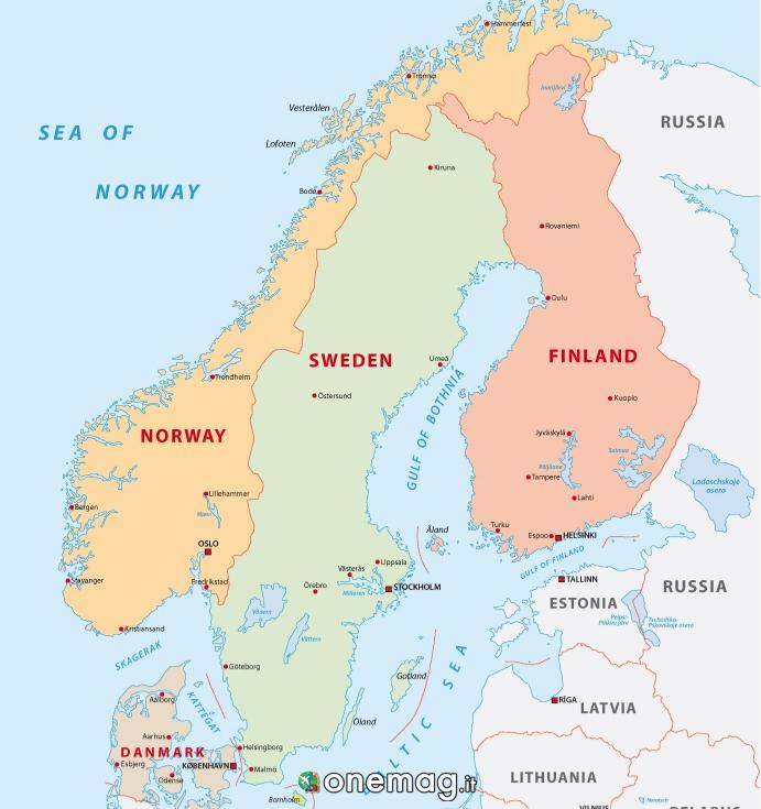 Cosa vedere in Finlandia, mappa scandinavia