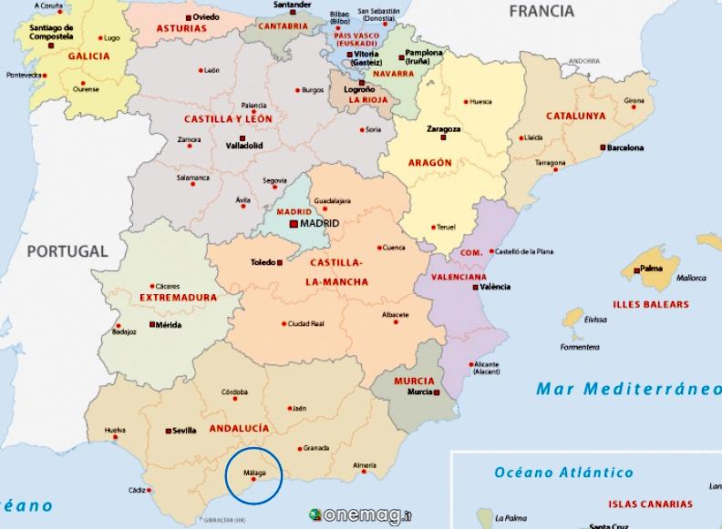 Cosa vedere a Malaga, mappa