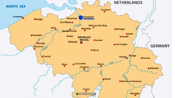 Mappa di Anversa, in Belgio