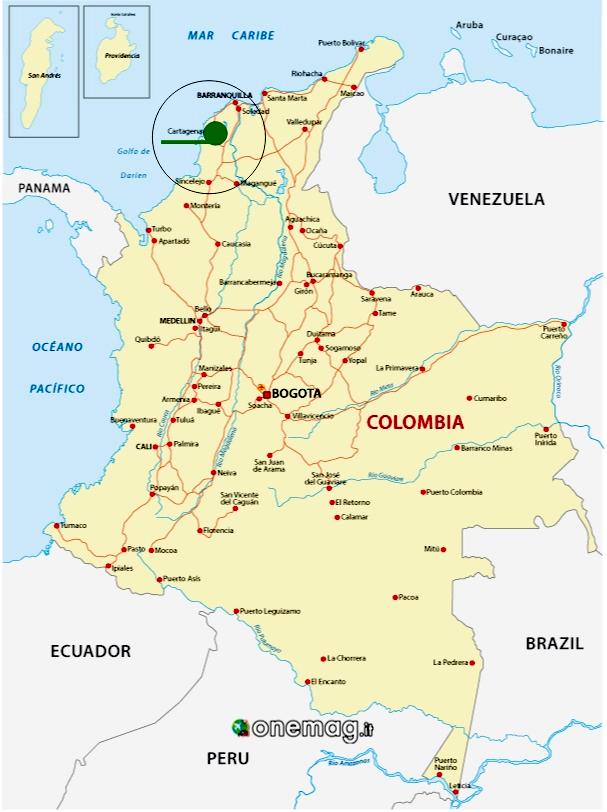 Cosa vedere a Cartagena, Colombia, mappa
