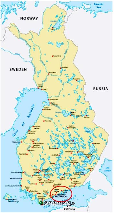 mappa della Finlandia