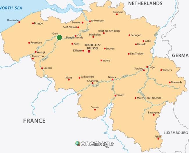 Cosa vedere a Gand, mappa