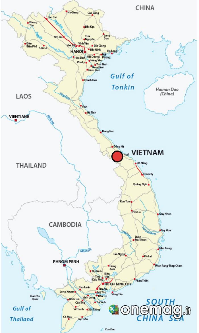 Cosa vedere a Hue, mappa