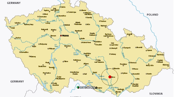 Csa vedere a Brno, mappa della Repubblica Ceca